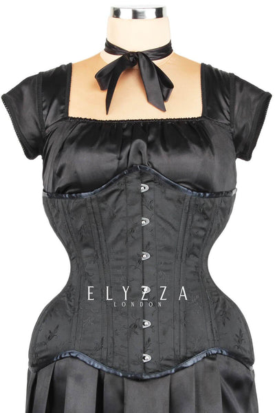 Black Brocade Waist Training Corset (ELC-102)
