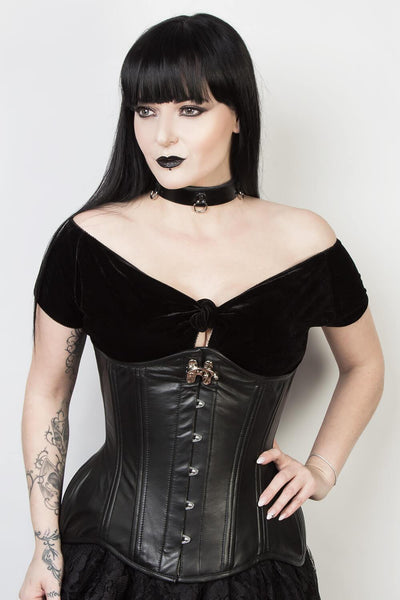 Black Leather Waist Training Corset (ELC-102)