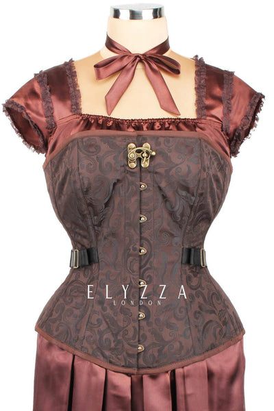 Brocade Fan Lacing Steampunk Corset (ELC-401)