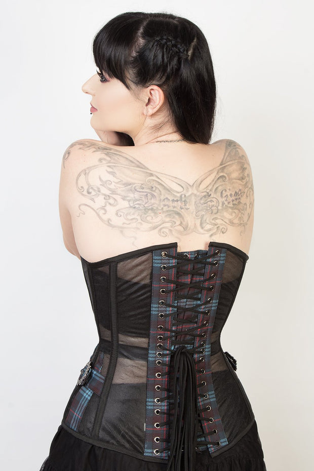Mesh with Plaid Print Steel Boned Corset (ELC-301)