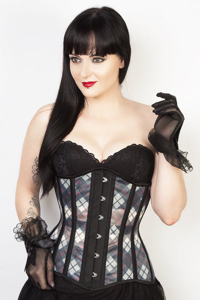Plaid Print Mesh Waist Reducing Longline Corset