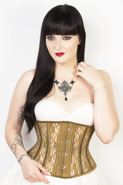 Plus Size Waist Trainer Gold Mesh with Lace Waspie Corset