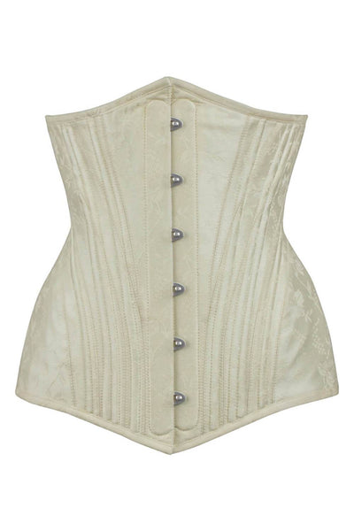 Akibe Waist Training Ivory Brocade Corset with Hip Panels