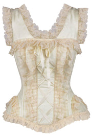 Adolpha Ivory Brocade Victorian Lace Up Corset