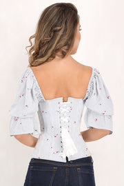 Dream Cherry Print Summer Corset with Attached Sleeve