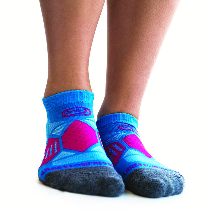 Aqua & Pink Runners - Elite Running Socks - CrazyCompression.com