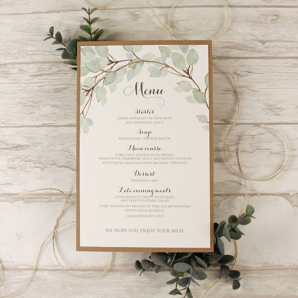 Menu rustic leaf