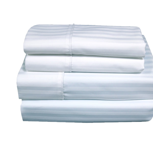 Wrinkle Free 650TC 70% Cotton-30% Polyester Damask Striped Pillowcases (Pair)