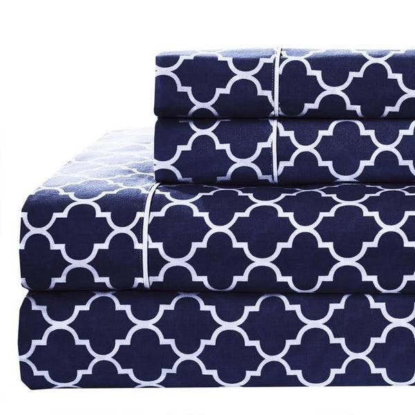 250 Thread Count 100% Cotton Percale Meridian Printed Bed Sheet Set; Includes Geometric Printed Flat Sheet, Fitted Sheet, & Coordinating Pillowcases