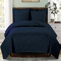 Calm and Collective Emerson Ornamental Design Solid Quilted Coverlet Sets; Includes Quilt & Coordinating Shams