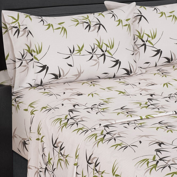 300 Thread Count 100% Cotton Fern Bedding, White and Green Bed Sheet Set; Includes Flat Sheet, Fitted Sheet, & Coordinating Pillowcases