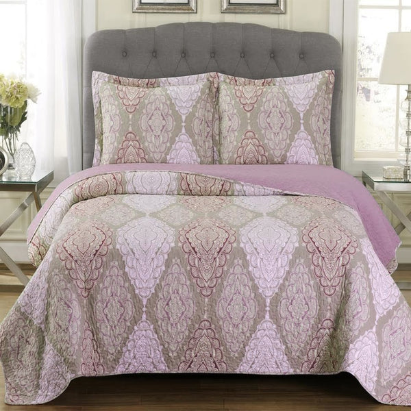 Unique Quilted Jewel Patchwork Print Oversized Reversible Wrinkle-Free Quilt Set; Includes Geometric Quilt & Coordinating Shams