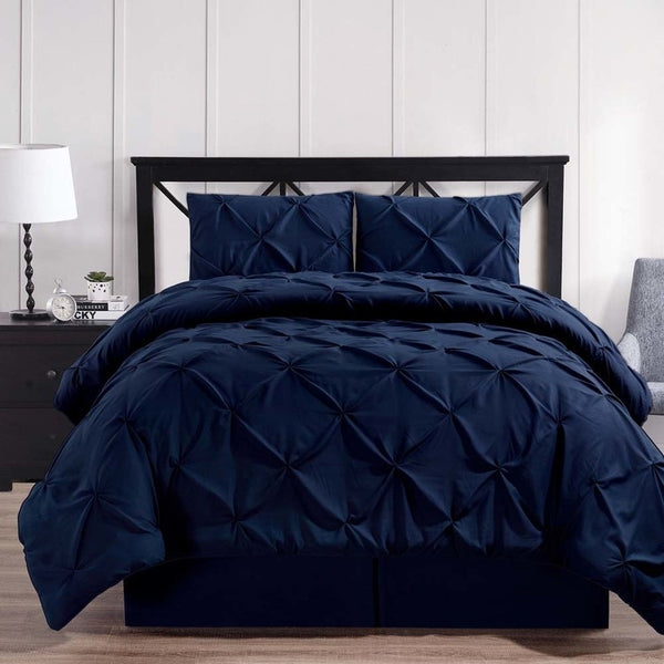 3-4 Pc Navy Oxford Luxuriously Soft Pinch Pleated Microfiber Comforter Set; Includes Comforter, Coordinating Shams, & Decorative Bed Skirt
