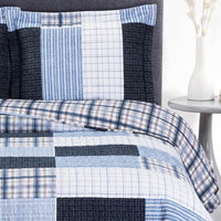 Contemporary Zoe Reversible Blue Printed Patchwork Hypoallergenic Bed Quilt Set; Includes Geometric Quilt & Coordinating Shams