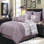 12pc Bliss 100% Microfiber Purple Floral Bed in a Bag Bedding Set; Includes Comforter, Coordinating Shams, White Flat Sheet, White Fitted Sheet, & White Pillowcases.