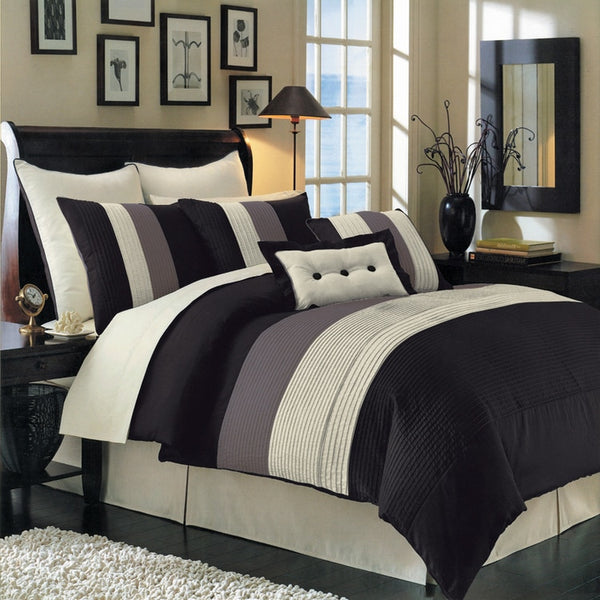 12pc Hudson 100% Microfiber Black Bed in a Bag Bedding Set; Includes Comforter, Coordinating Shams, Decorative Pillows, White Flat Sheet, White Fitted Sheet, and White Pillowcases