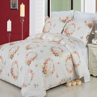 Liza 210 Thread Count 100% Combed Cotton Floral Duvet Cover Set; Includes Duvet Cover and Coordinating Shams