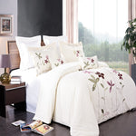 5pc South Garden 100% Microfiber Floral Embroidered Duvet Cover Set; Includes Duvet Cover Set, Coordinating Shams, and Decorative Pillows