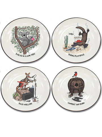 Australian Animals Collection Set of 4 Canapé Plates