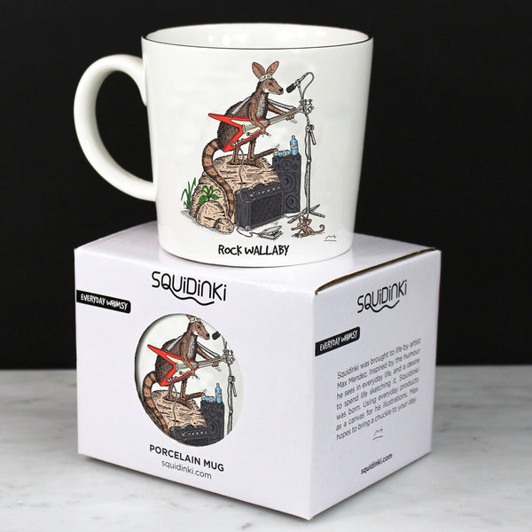 Porcelain Mug: Rock Wallaby & Diving Platypus