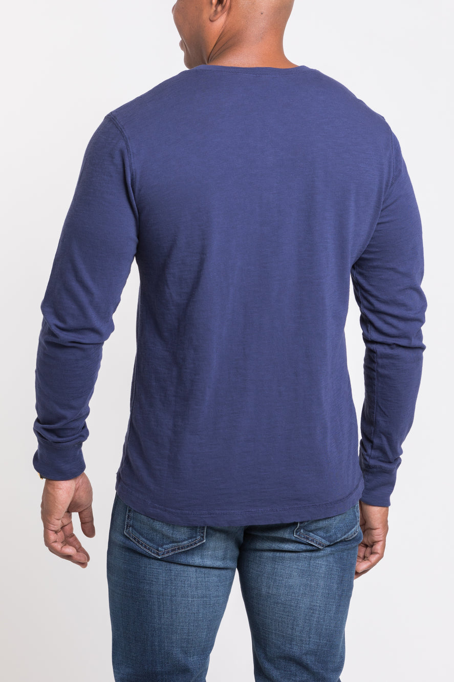 Mason Crew Neck Henley - Olympic Blue -single
