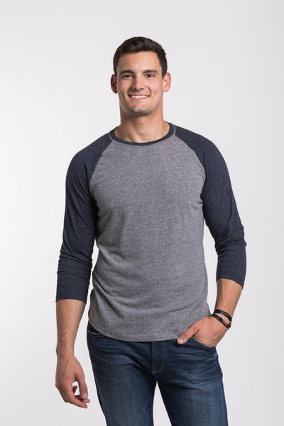 SODO Baseball Raglan - Heather/Navy
