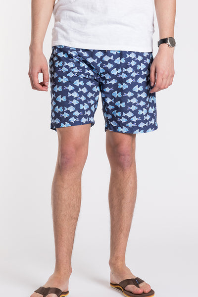 Aztec Fish Swim Trunks - Blue