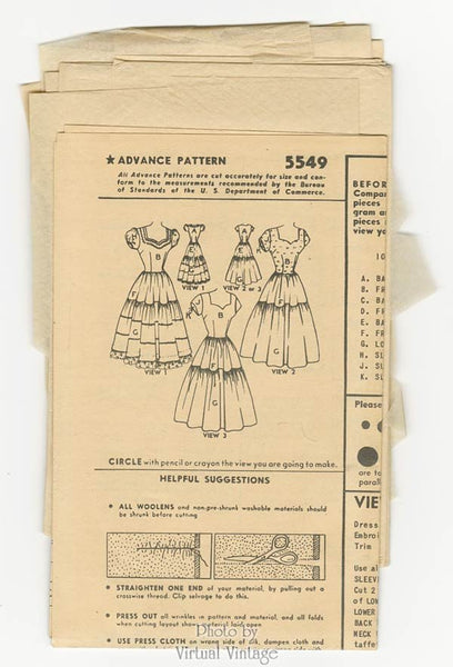 1950s Sweetheart Dress Pattern Advance 5549 Fitted Bodice Tiered Skirt Bust 30 Vintage Sewing Pattern