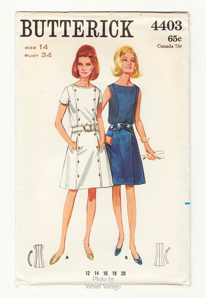 Butterick 4403, 1960s Princess Seam Dress Pattern
