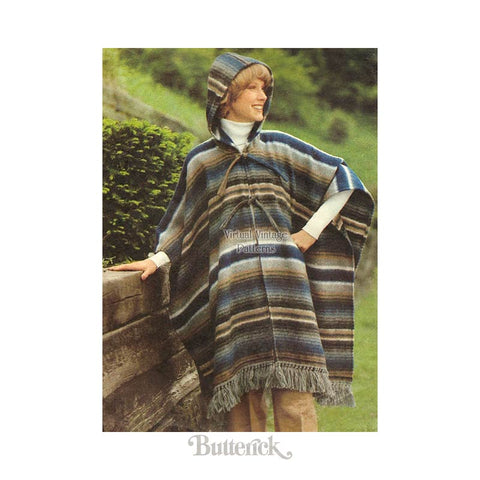 1970s Hooded Poncho Pattern, Butterick 5100