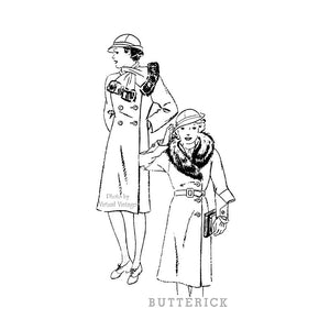 1930s Womens Coat & Cloche Hat Pattern, Butterick 5859