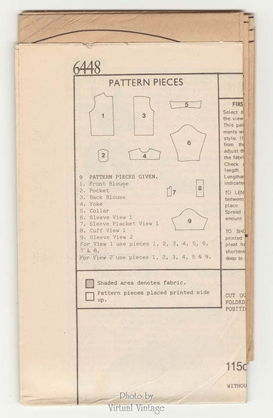 Womens Blouse Pattern New Look 6448 Shirt with Pockets Sizes 8 to 18 Bust 31 1/2 to 40