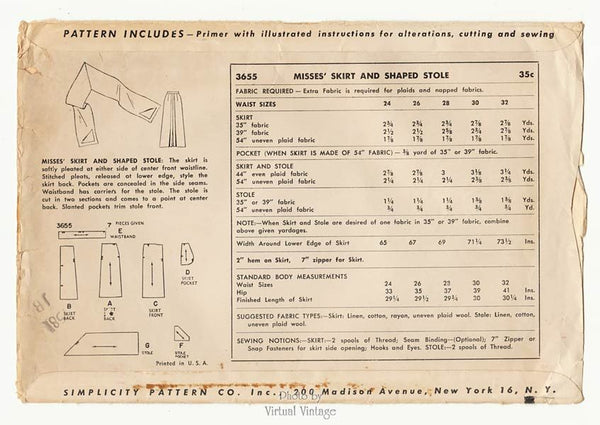 1950s Skirt Pattern Simplicity 3655, Shaped Stole and Pleated Skirt Vintage Sewing Patterns Waist 26