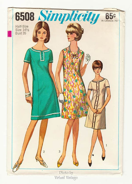 Simplicity 6508, 1960s Princess Seam A Line Dress Pattern