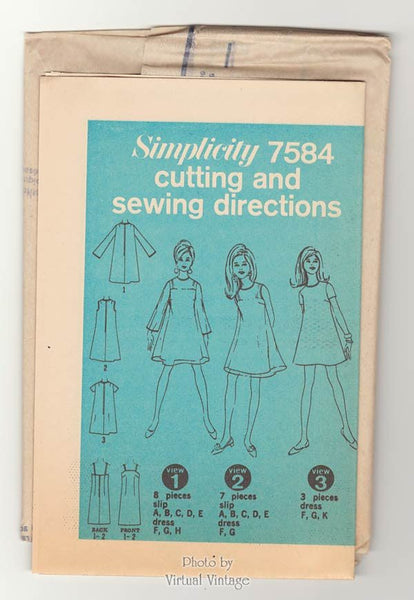 1960s Mod Mini Tent Dress Pattern Simplicity 7584 Bust 36 Uncut Vintage Sewing Pattern
