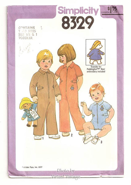 Simplicity 8329, Baby Romper Pattern with Paddington Bear