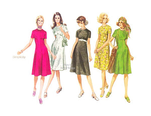 1970s Fit & Flare Dress Pattern, Simplicity 9353