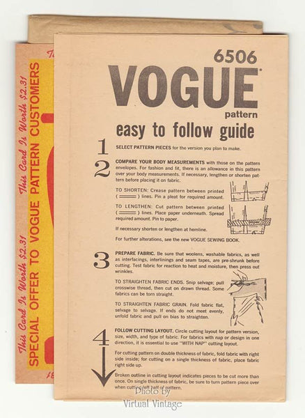 1960s Vogue Dress Pattern 6506, One Piece, Long Sleeves or Sleeveless, Bust 32, Uncut