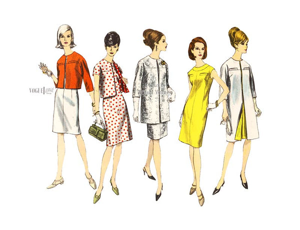 60s Vogue Special Design 6740 Sheath Dress Pattern with A-line Coat or Cropped Jacket