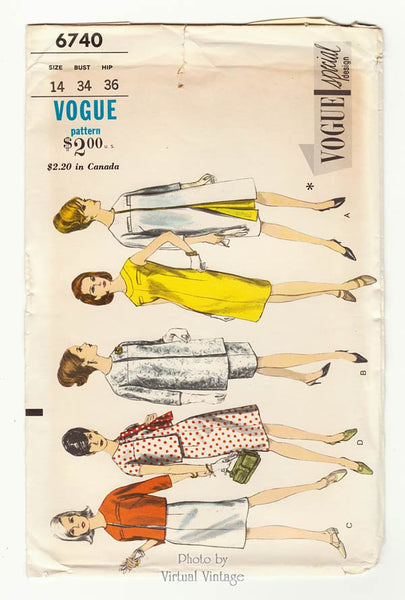 1960s Vogue Special Design 6740, Dress, Coat & Jacket Sewing Patterns