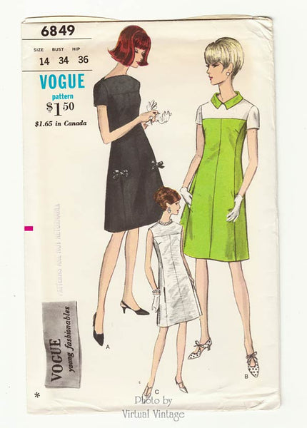 Vogue Pattern 6849, 1960s Jewel Neck Dress with Pockets