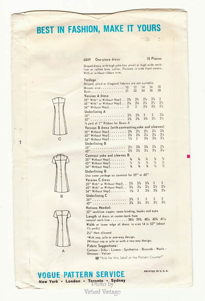 Vogue 6849 1960s dress pattern