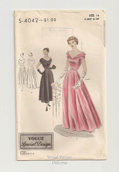 1940s Vogue Special Design 4042 Evening Gown Pattern