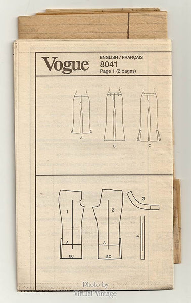 Womens Pants Pattern, Vogue V8041, Low Rise Boot Cut Hip Huggers, Easy Sewing, Sizes 6 8 10 12 Uncut