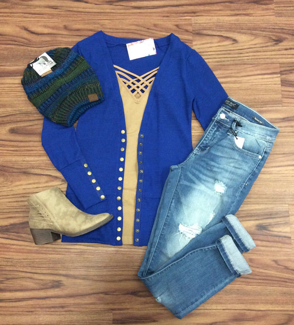 Gotta Have It Snap Detail Cardigan - Royal