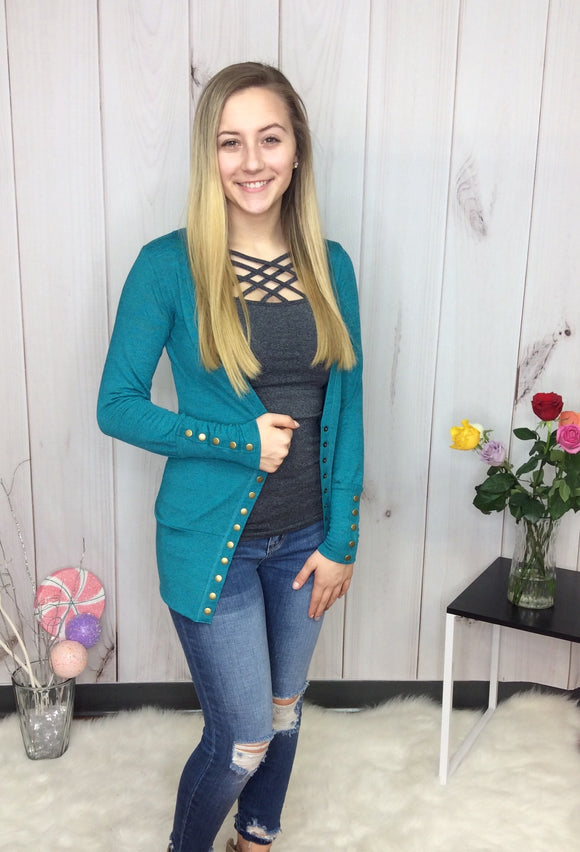 Gotta Have It Snap Cardigan - Teal