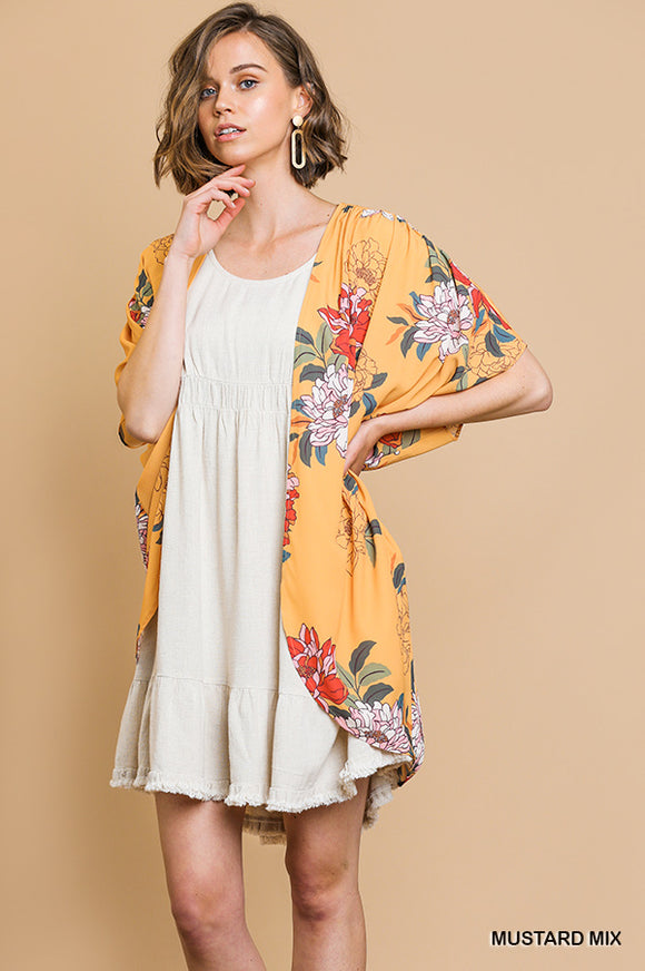 Follow The Flowers Open Front Cocoon Kimono