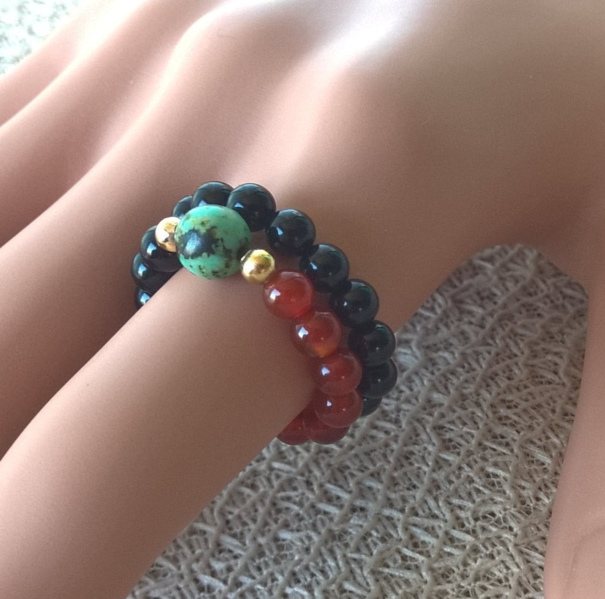 Natural stone ring women, Natural Agate & African Turquoise SET 2 stretch ring, red and black