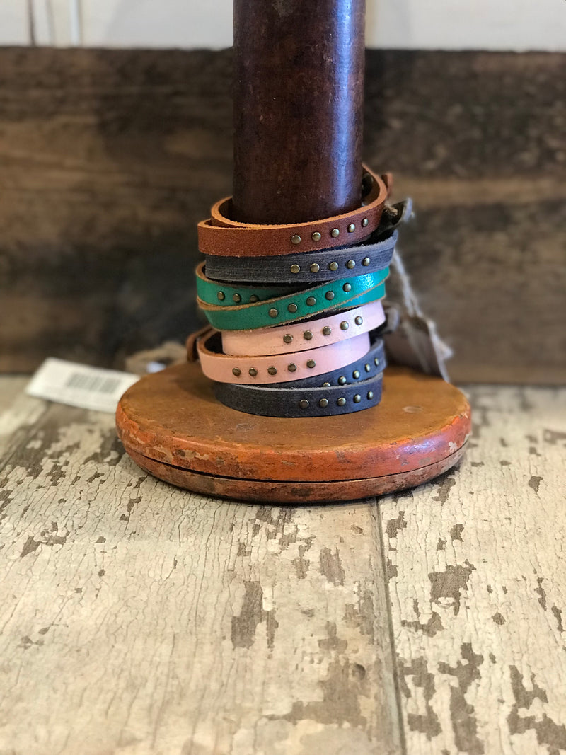Simple Studded Double Wrap Leather Bracelet