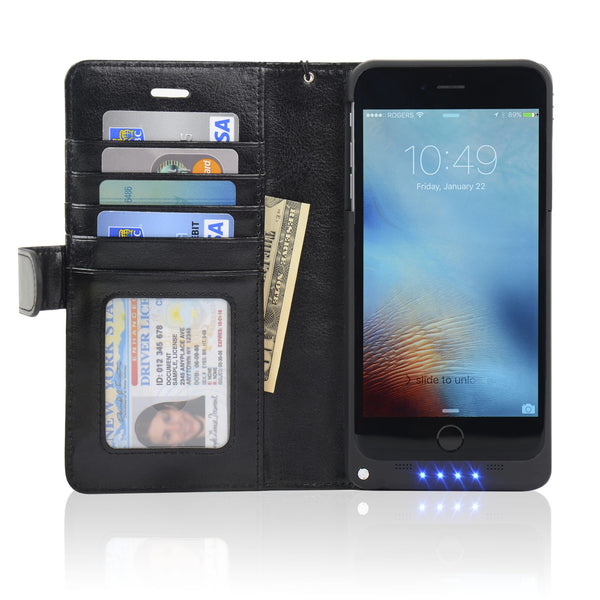 5.5-inch iPhone 6/6S Plus Wallet Power Battery Case 5000 mAh - Navor